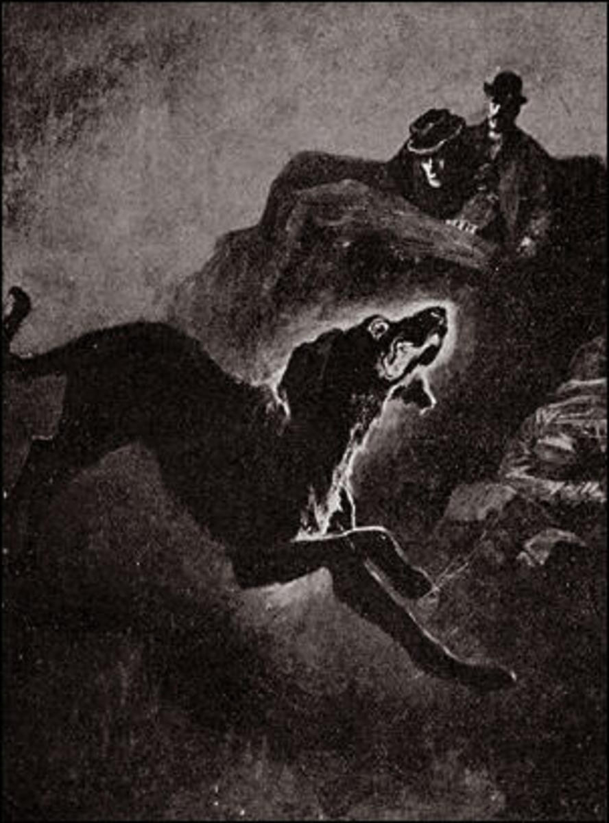 Holmes and Watson see the Hound of the Baskervilles, Sidney Paget's illustration.