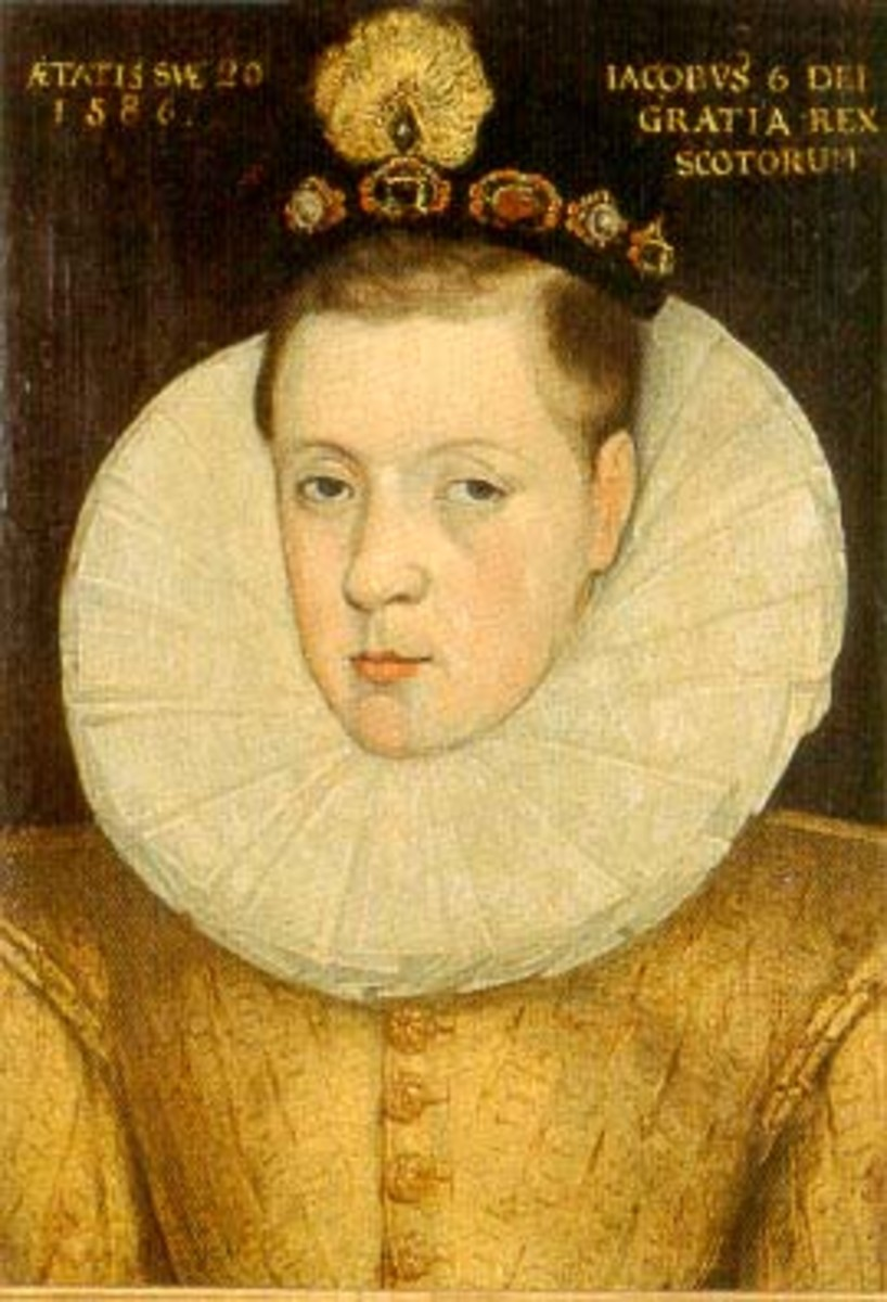 James VI of Scotland aged 20, 1586. Three years before he sailed to Denmark.