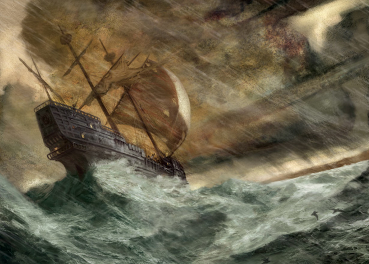A ship beset by storms at sea. Art by Jon Foster.
