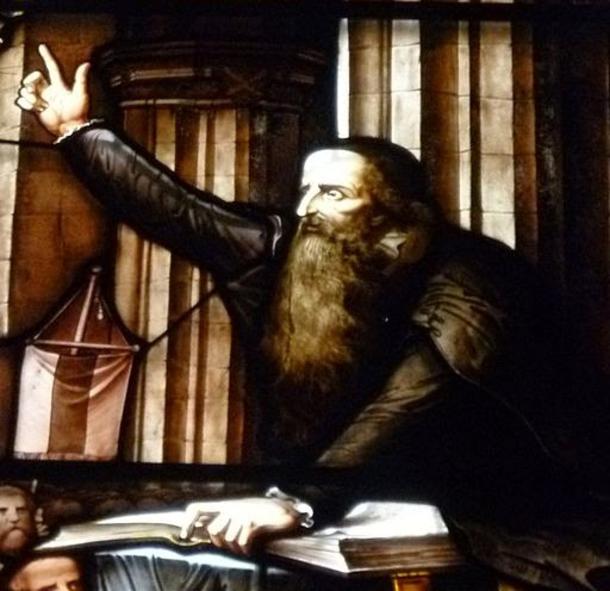 John Knox, Protestant reformer, preaching a sermon. Image from a stained glass window.