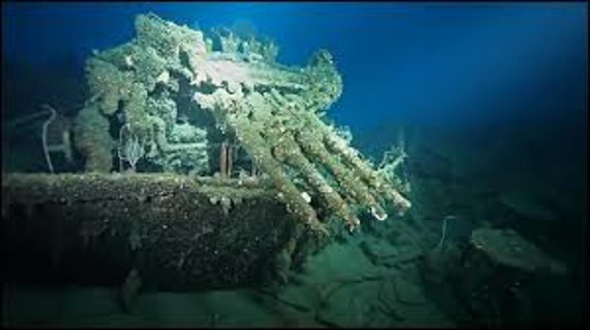 Sunken ship off Iron Bottom Sound an area where intense naval battles took place off the Island of Guadalcanal.