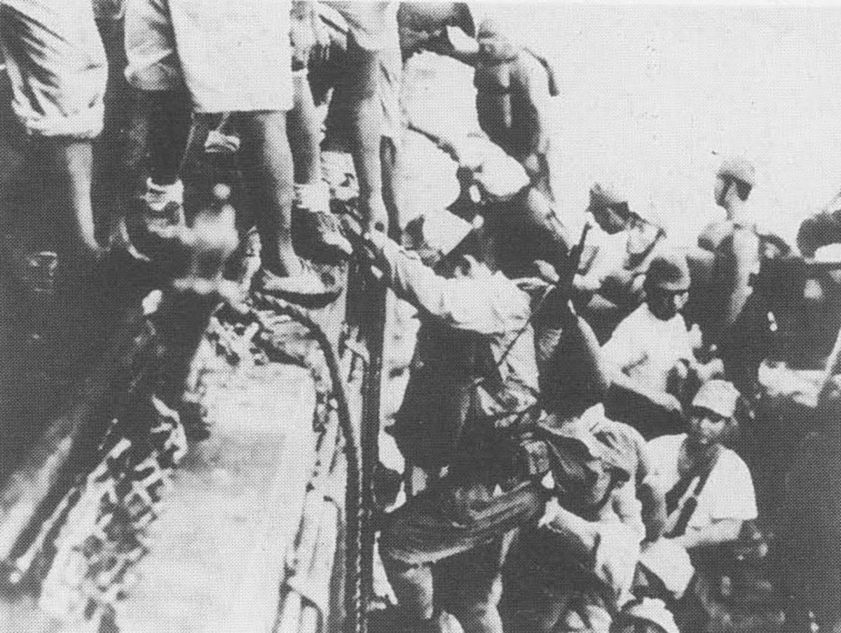 The Tokyo Express Japanese troop unloading of the coast of Guadalcanal.