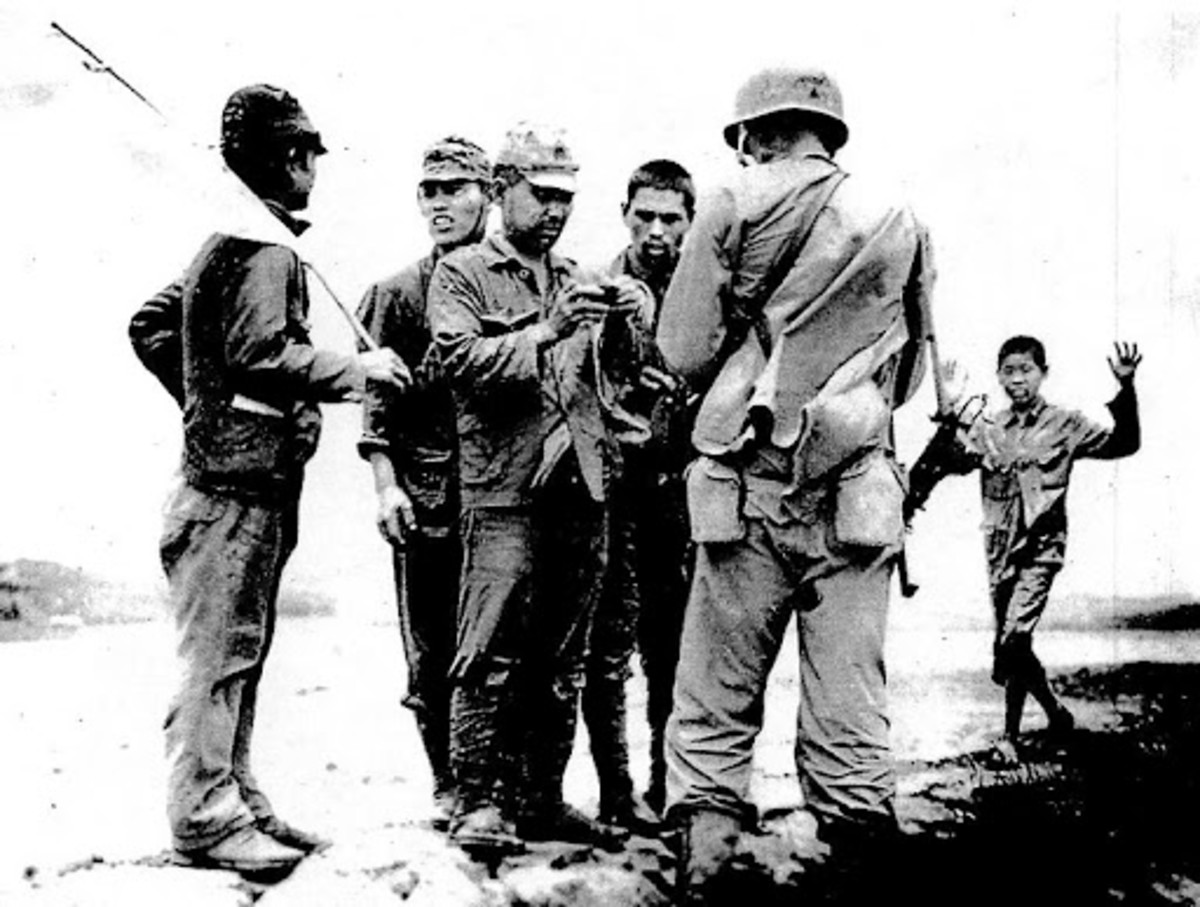 Some of the few Japanese soldiers who surrendered to American troops on Guadalcanal.