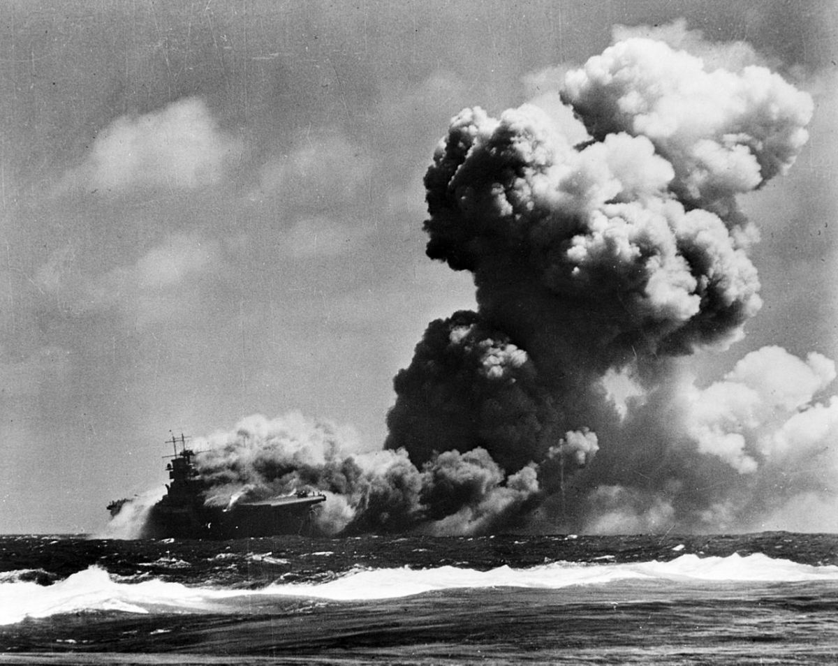 The aircraft carrier USS Wasp burning after the battle for Santa Cruz it would soon find the bottom of the ocean near Guadalcanal.