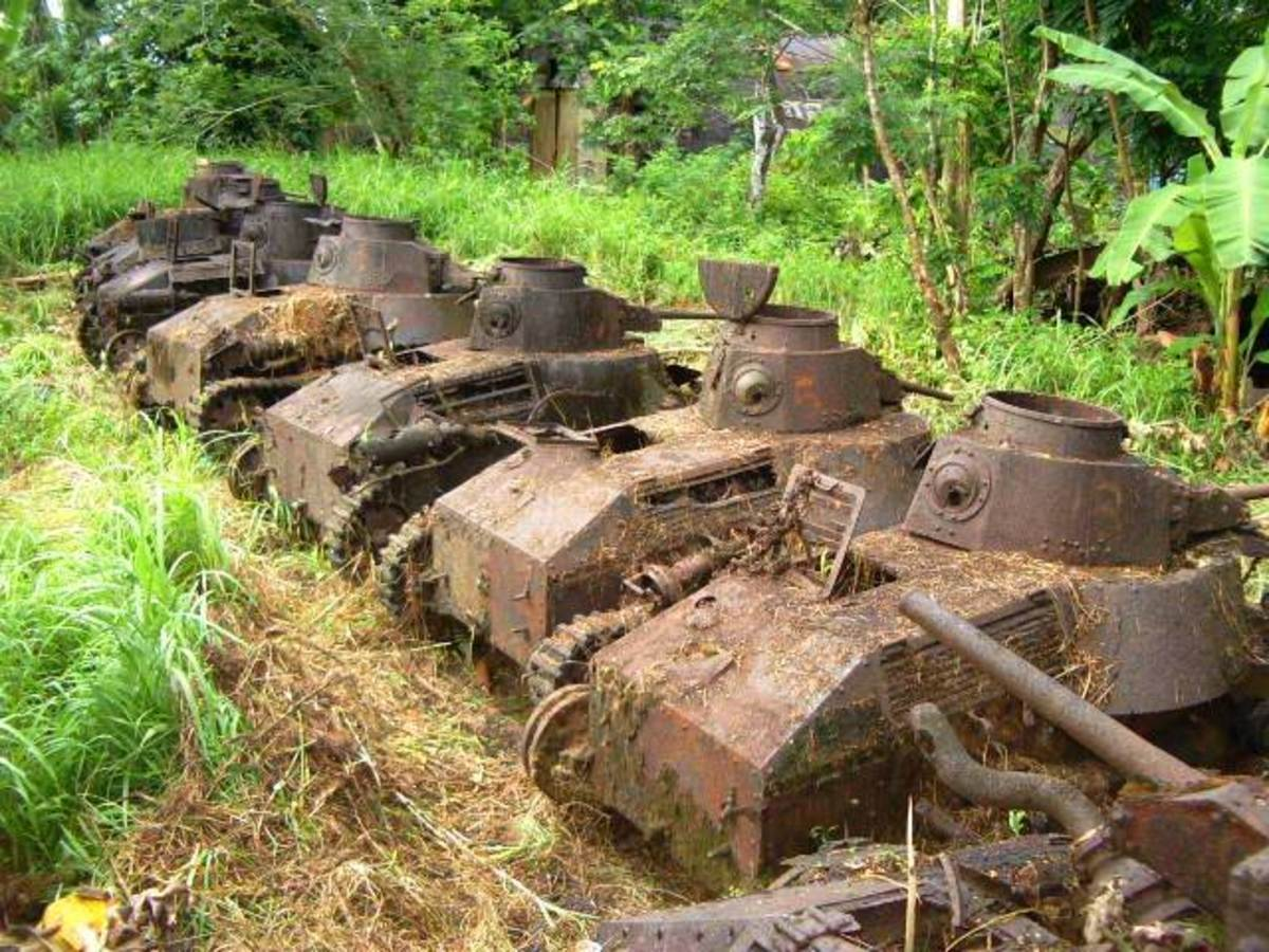 Japanese Tanks left after the battle of Guadalcanal.
