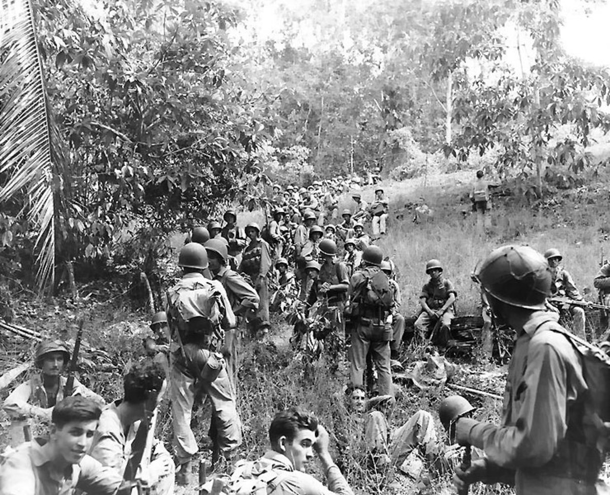 American marines at rest in the field on Guadalcanal.