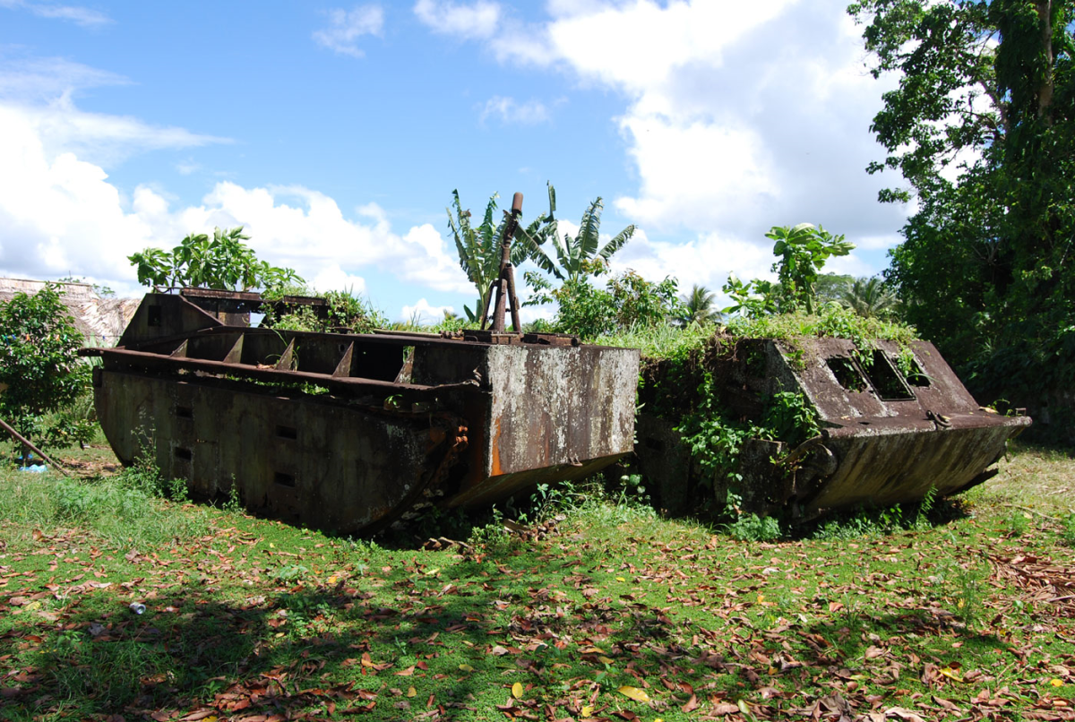 American landing craft used in the battle of Guadalcanal.