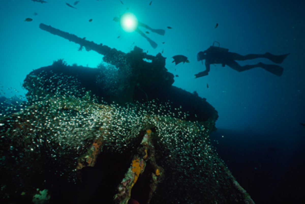 Japanese ship sunk off the beaches of Guadalcanal.
