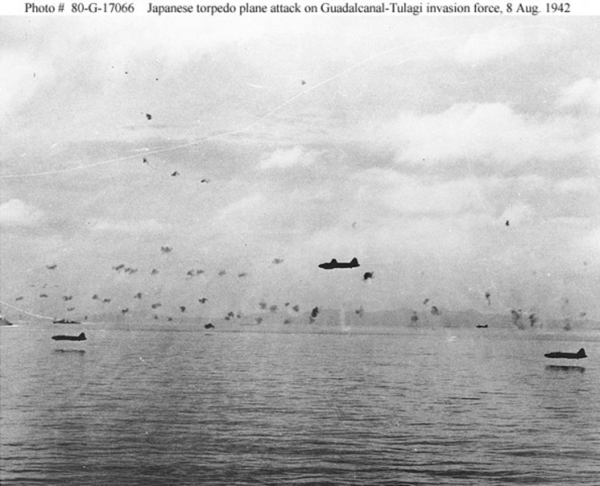 Japanese Torpedo Planes Attack ships around Guadalcanal.