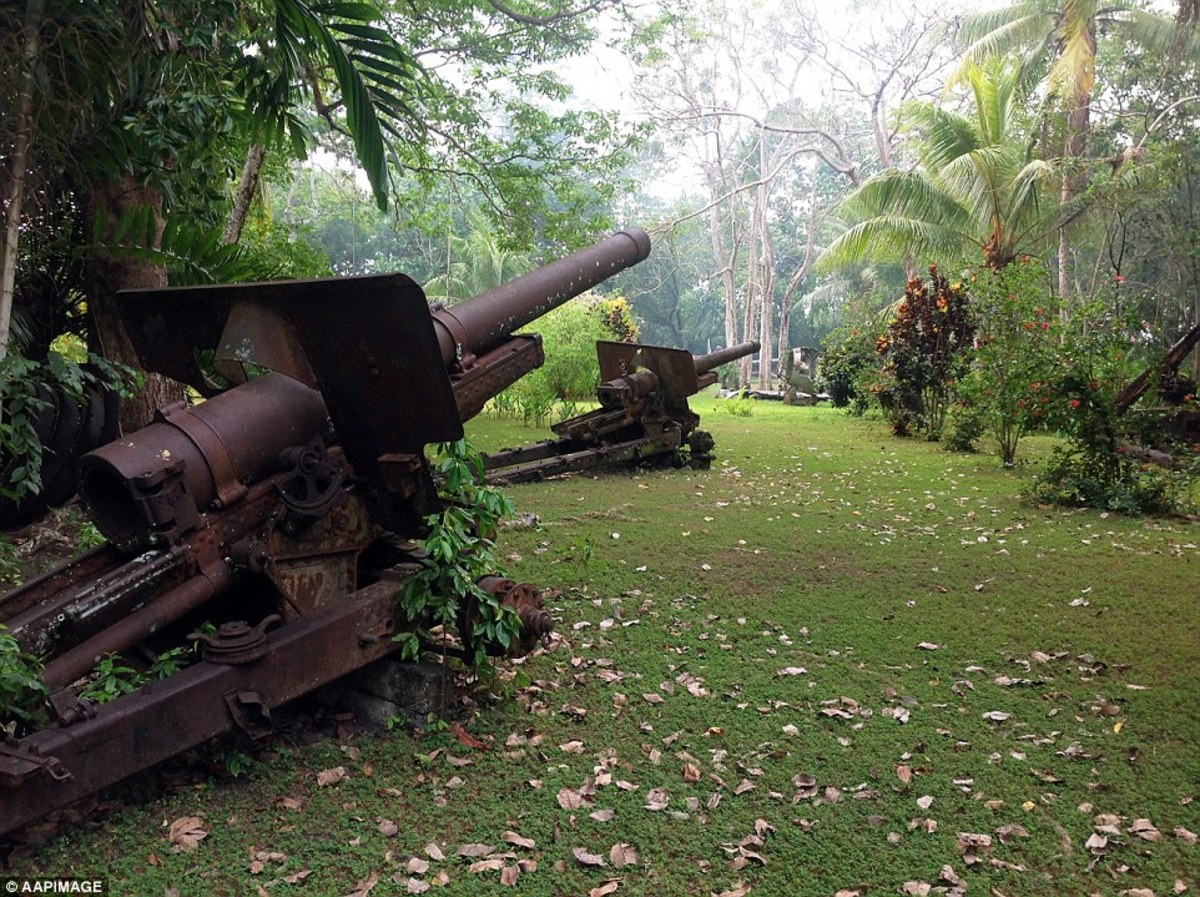 Japanese heavy artillery rusting in the very place they were position during the battle over seventy years ago.