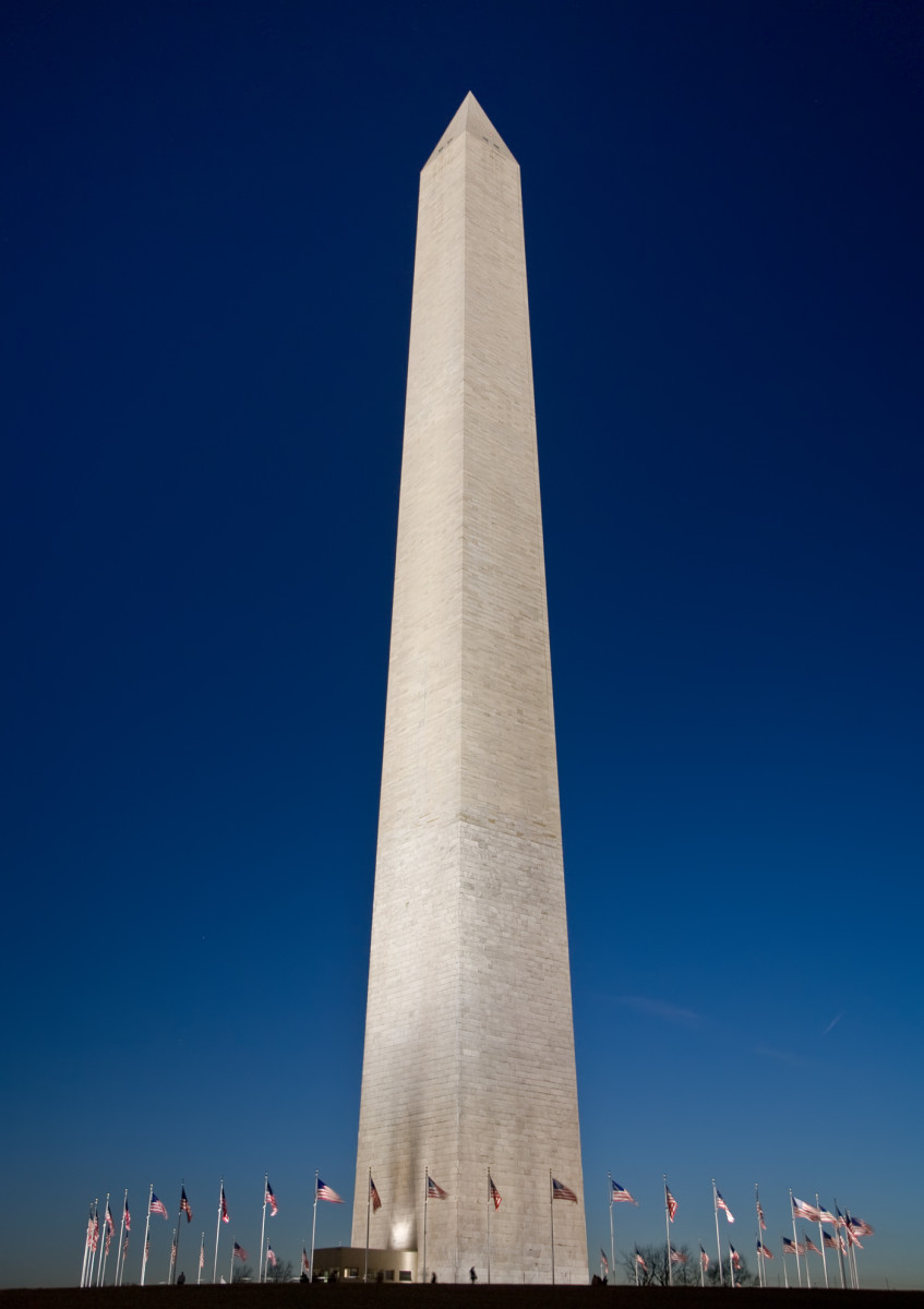 The Washington Monument.  The monument is made of marble, granite, and bluestone gneiss and is the world's tallest obelisk, standing 554 feet 7 and 11/32 inches high.  Construction of the monument began in 1848 and was finally completed in 1888.