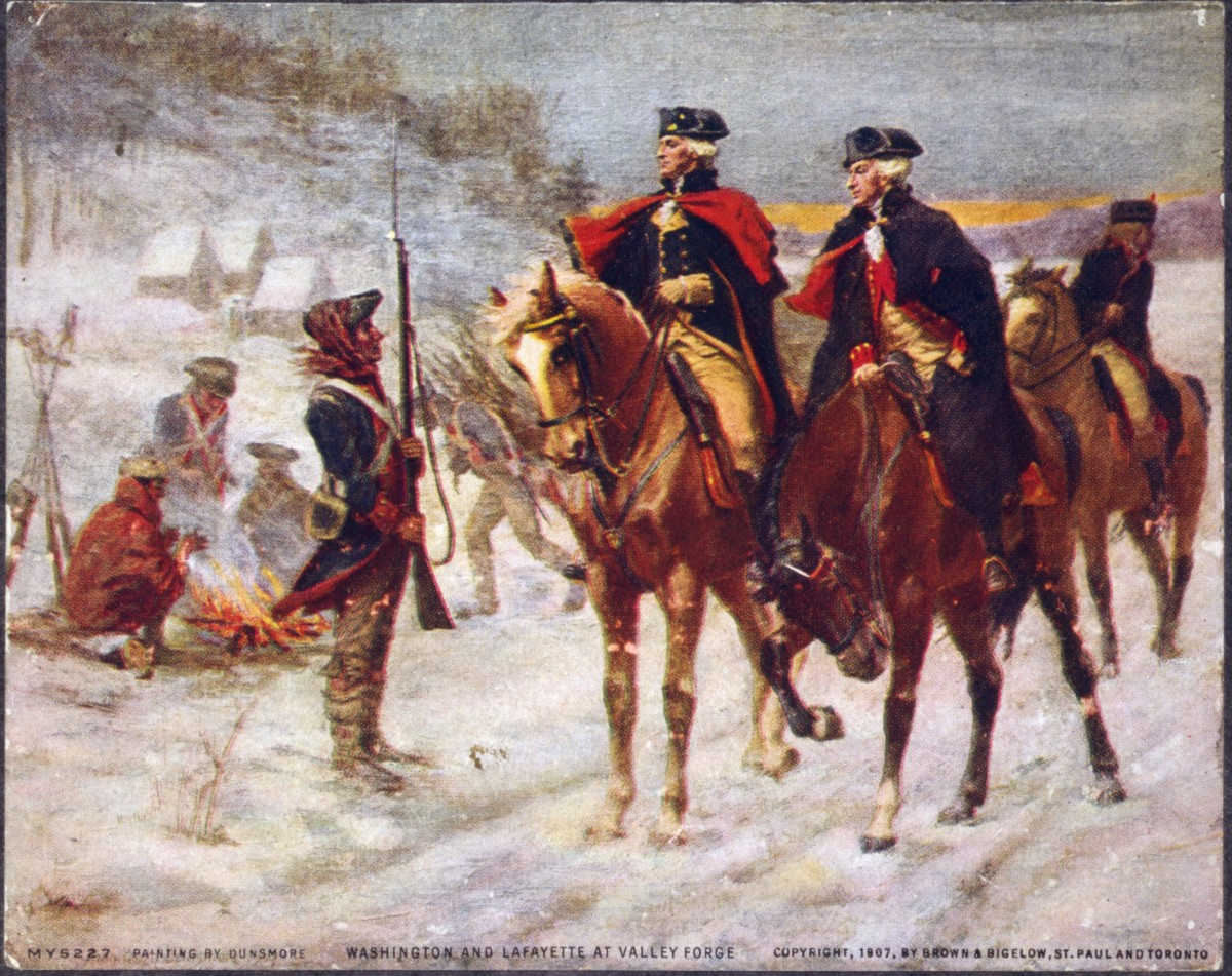 General Washington and Lafayette look over the troops at Valley Forge.  Washington was a disciplinarian who emphasized discipline and training.  His best trait, however, was his charismatic leadership.