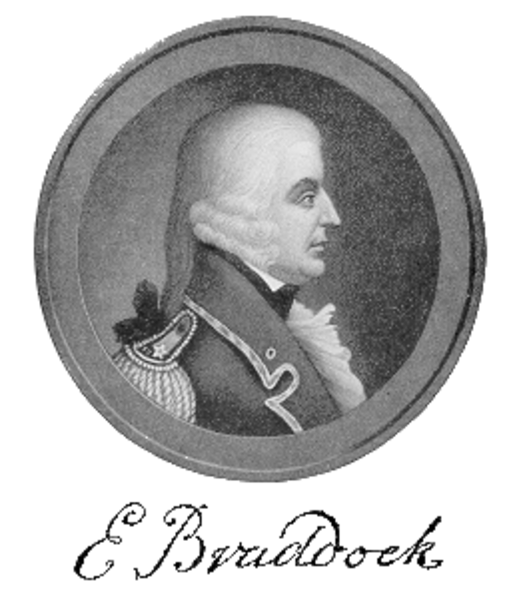General Edward Braddock.  Washington was serving as an aide to the British officer at the Battle of the Monongahela, when Braddock was mortally wounded by French troops with their Indian allies.