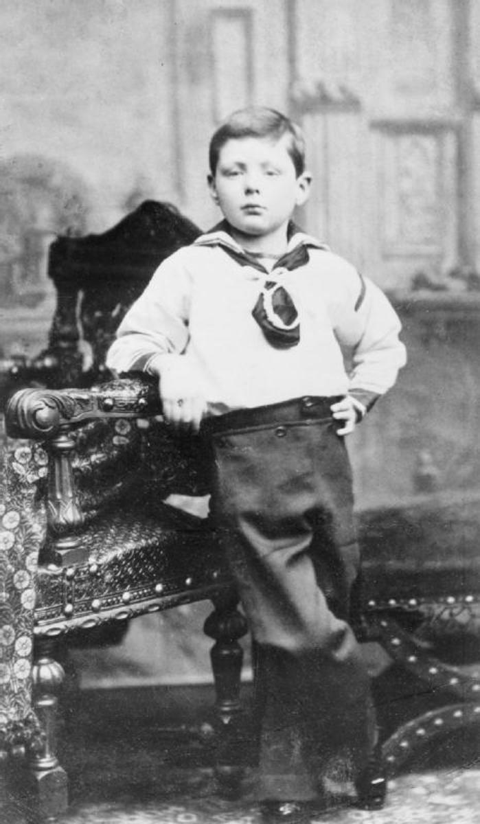 Churchill aged 7.  He was a low achiever at school, mainly due to his independent and rebellious attitude.  Although he performed poorly at school and loathed the experience, he would later develop a love for the English Language.