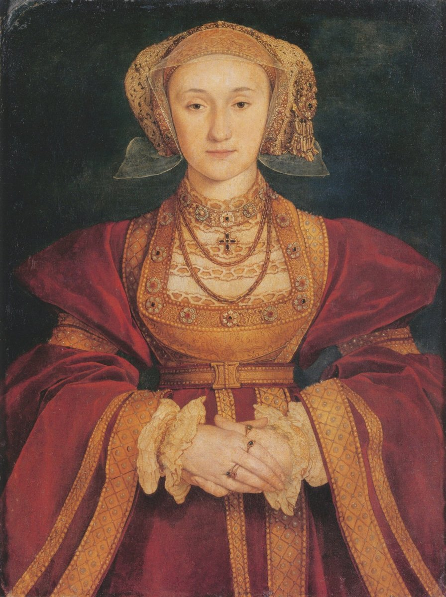 Anne of Cleves, a portrait painted by Hans Holbein the Younger.  Henry quickly regretted his decision to marry Anne.  He liked the painted image of her that he saw, but failed to find her attractive in the flesh.  She agreed to an annulment.