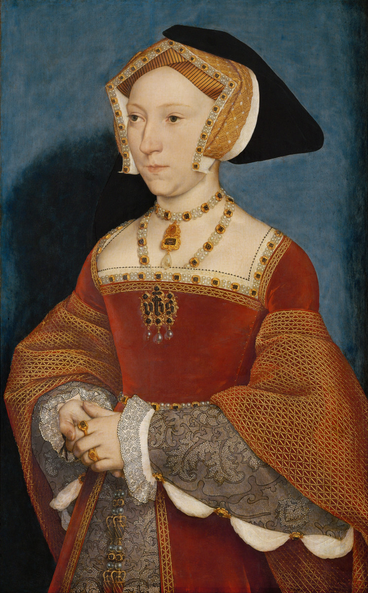 Jane Seymour, portrait painted by Hans Holbein the Younger.  Jane gave Henry with the boy that Henry wanted, although it was giving birth probably killed her.  She was rewarded with a Queen's funeral, the only wife to receive this honor.