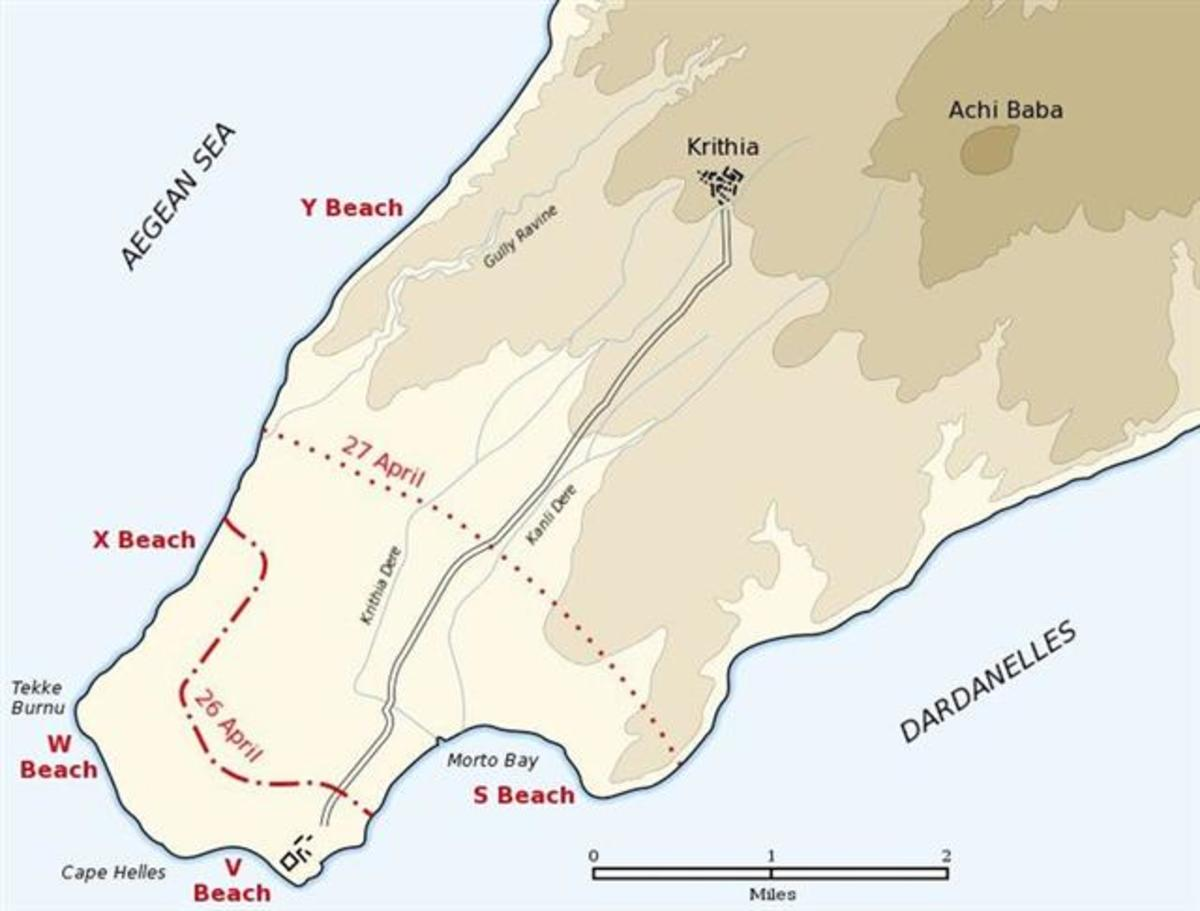 Map of the landing of the British 29th Division at Cape Helles on April 25, 1915 during the Battle of Gallipoli. The front line established by the night of April 26 is shown by the red dash-dot line. The front line reached by the night of April 27 is