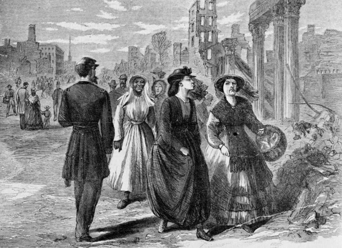 "This engraving from Harper's Weekly, June 3, 1865, shows Richmond ladies going to receive US government rations. Original caption: ""Don't you think that Yankee must feel like shrinking into his boots before such high-toned Southern ladies as we!"""