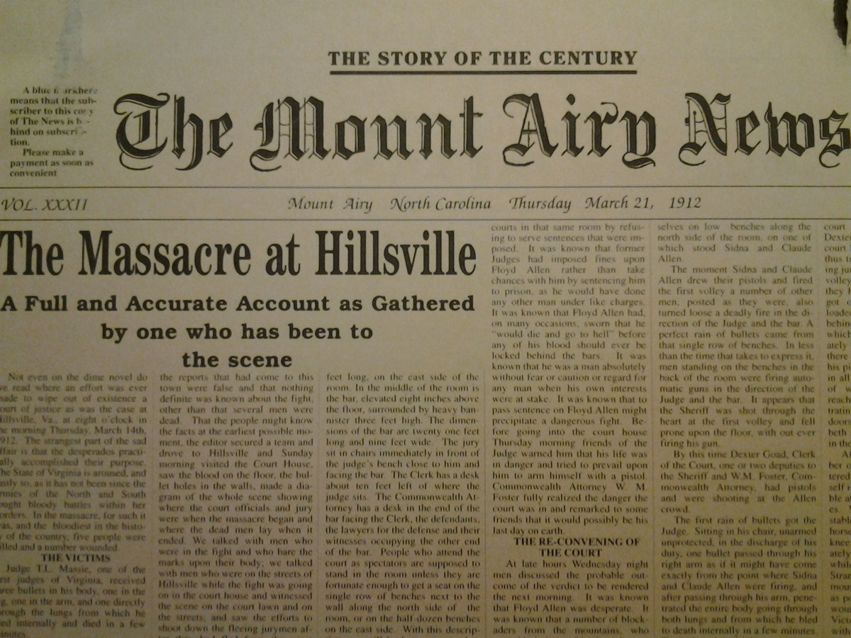 Mt. Airy News March 2, 1912, on display in the Regional History Museum, Mt. Airy, NC