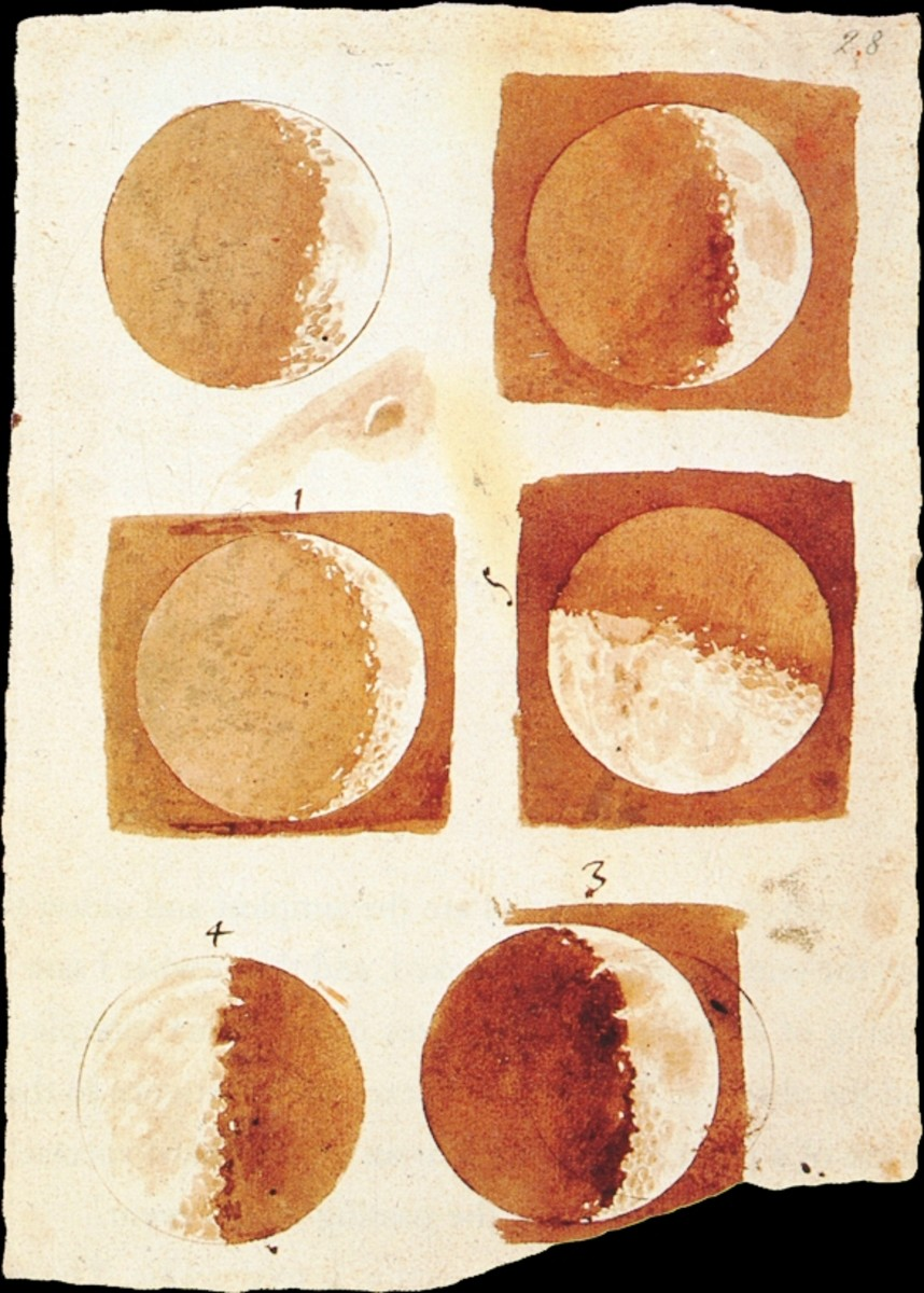 Moon Phases Drawing by Galileo (1616)