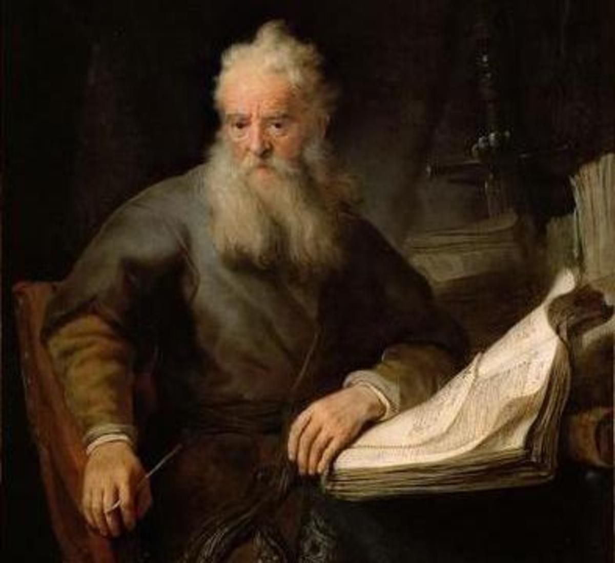 A detail of a painting of St. Paul by Rembrandt.
