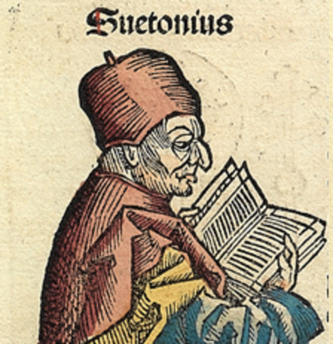 A detail from the an illustration of Suetonius from the Nuremberg Chronicle.
