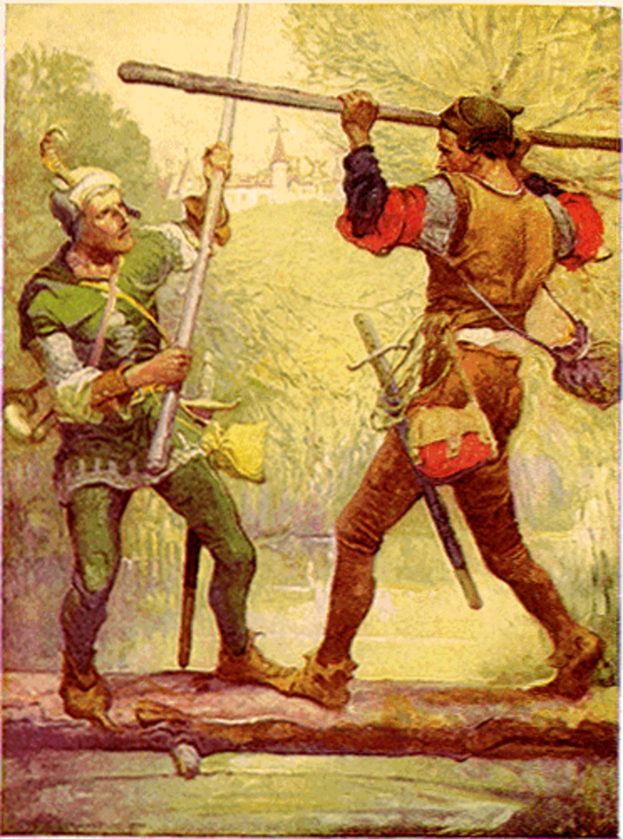 The famous duel between Robin Hood and Little John
