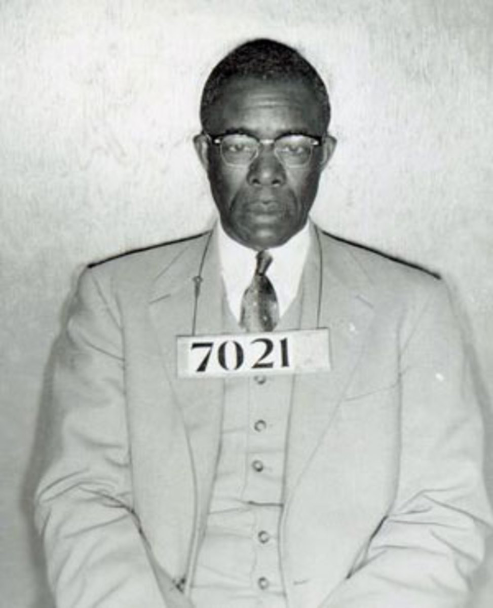 Photo of American civil rights leader and union organizer, Edgar Daniel Nixon, after he was arrested during the Montgomery bus boycott.  Parks worked as his secretary through most of the 1940s and 50s.