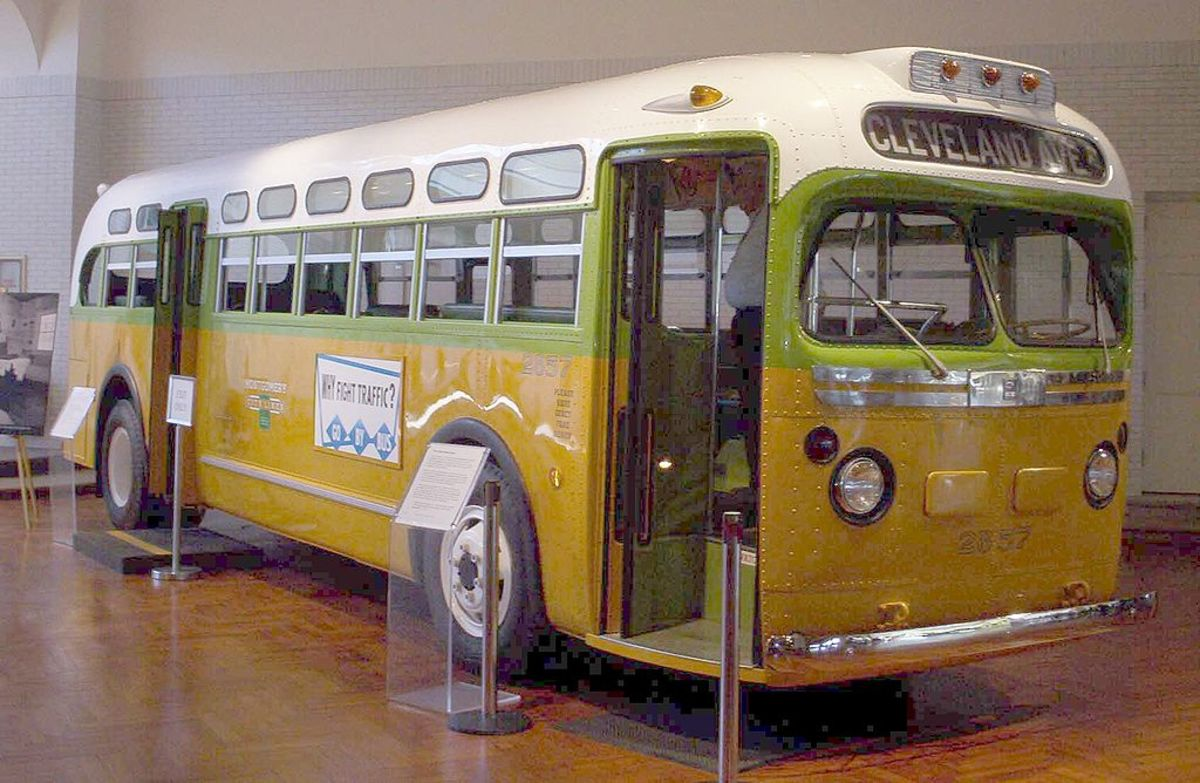 The bus that Rosa Parks rode on before she was arrested.  Whites were expected to sit at the front of the bus and blacks at the rear, although the white area could be expanded at any time.  The No. 2857 bus is now exhibited in the Henry Ford Museum.