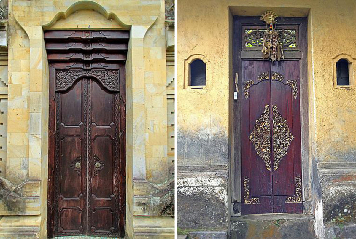 Above top: A majestic gate made of sun-bleached coral rocks.  Above bottom: Traditional gates with antique-style doors.
