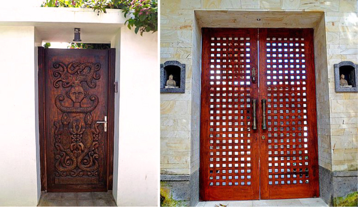 Above top and bottom: Contemporary-style gates with their finely carved teak doors.