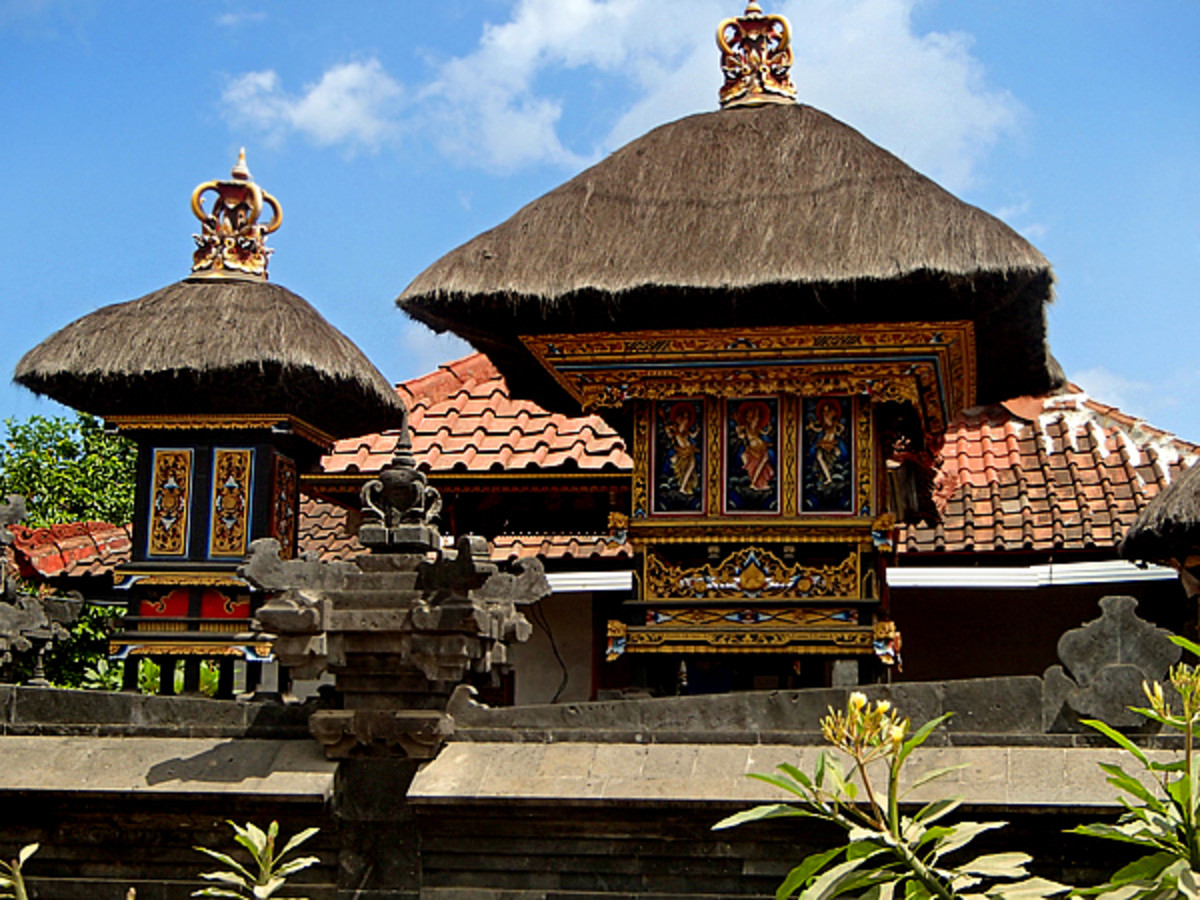 Above top and bottom: Ancestors shrines are a must in Balinese gardens.