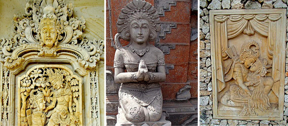 Above: Exquisite, sensual paras stone carvings and statues.