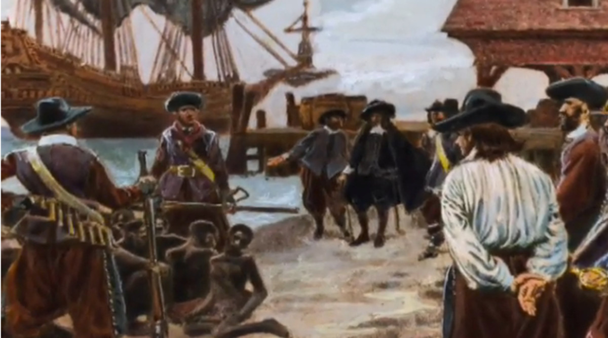 "According to official historical records, slavery was first introduced to America in 1619 when ""The White Lion,"" a badly damaged Dutch slave ship, arrived on the shore of the Virginia Colony on the Chesapeake Bay."
