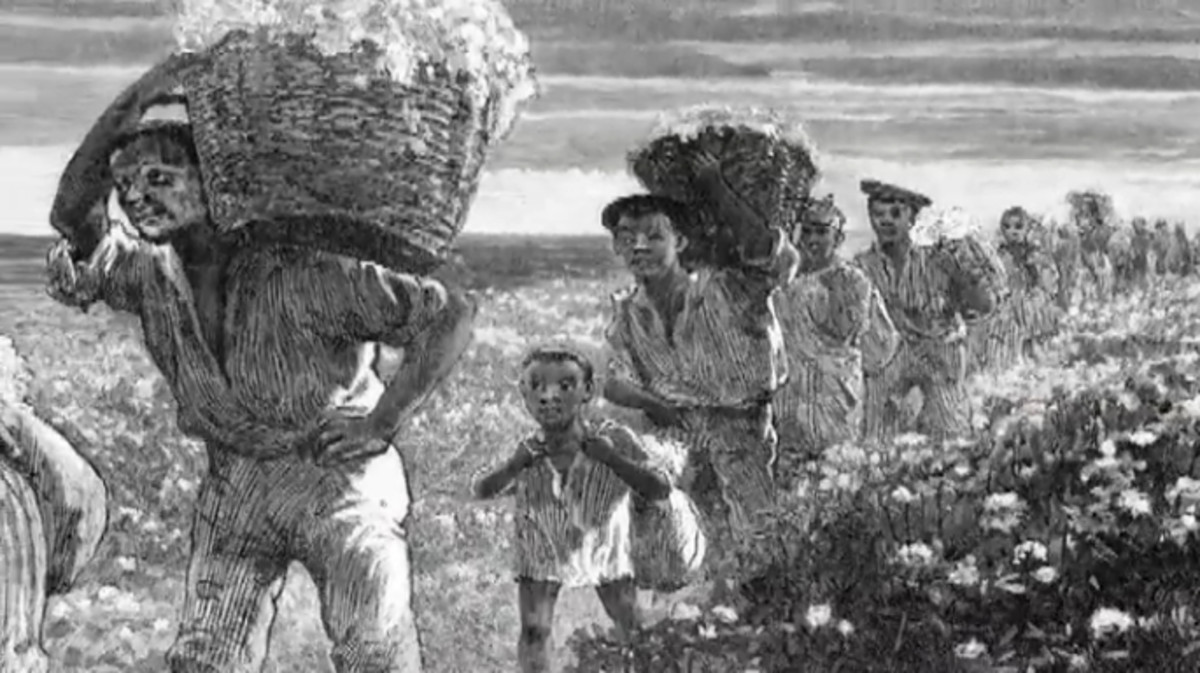 By 1860 one-million humans were moved from East to the South and sold as slaves. Slaves were treated like chattel and herded along like animals.