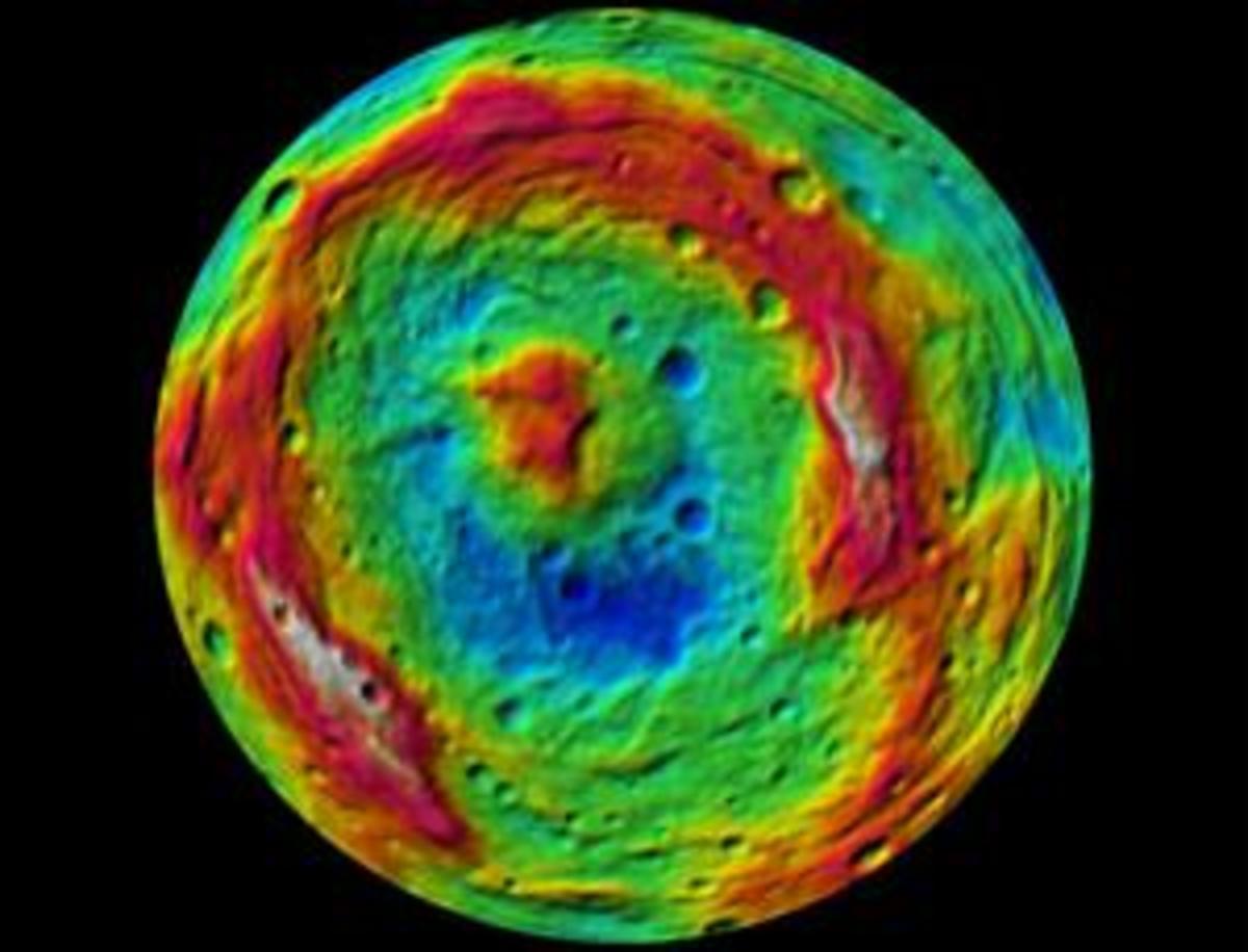 The south pole in false color.
