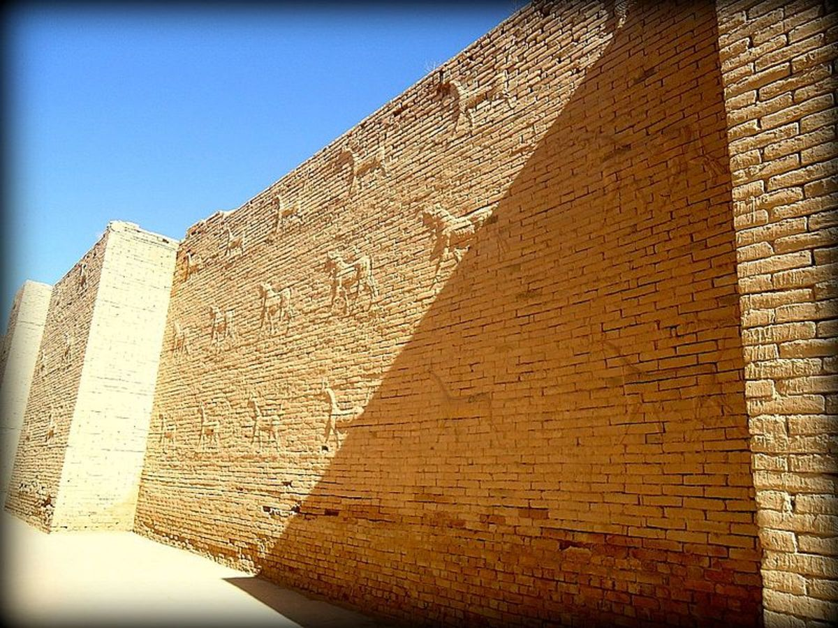 The Ancient Walls of Babylon in Mesopotamia were made of kiln dried bricks.