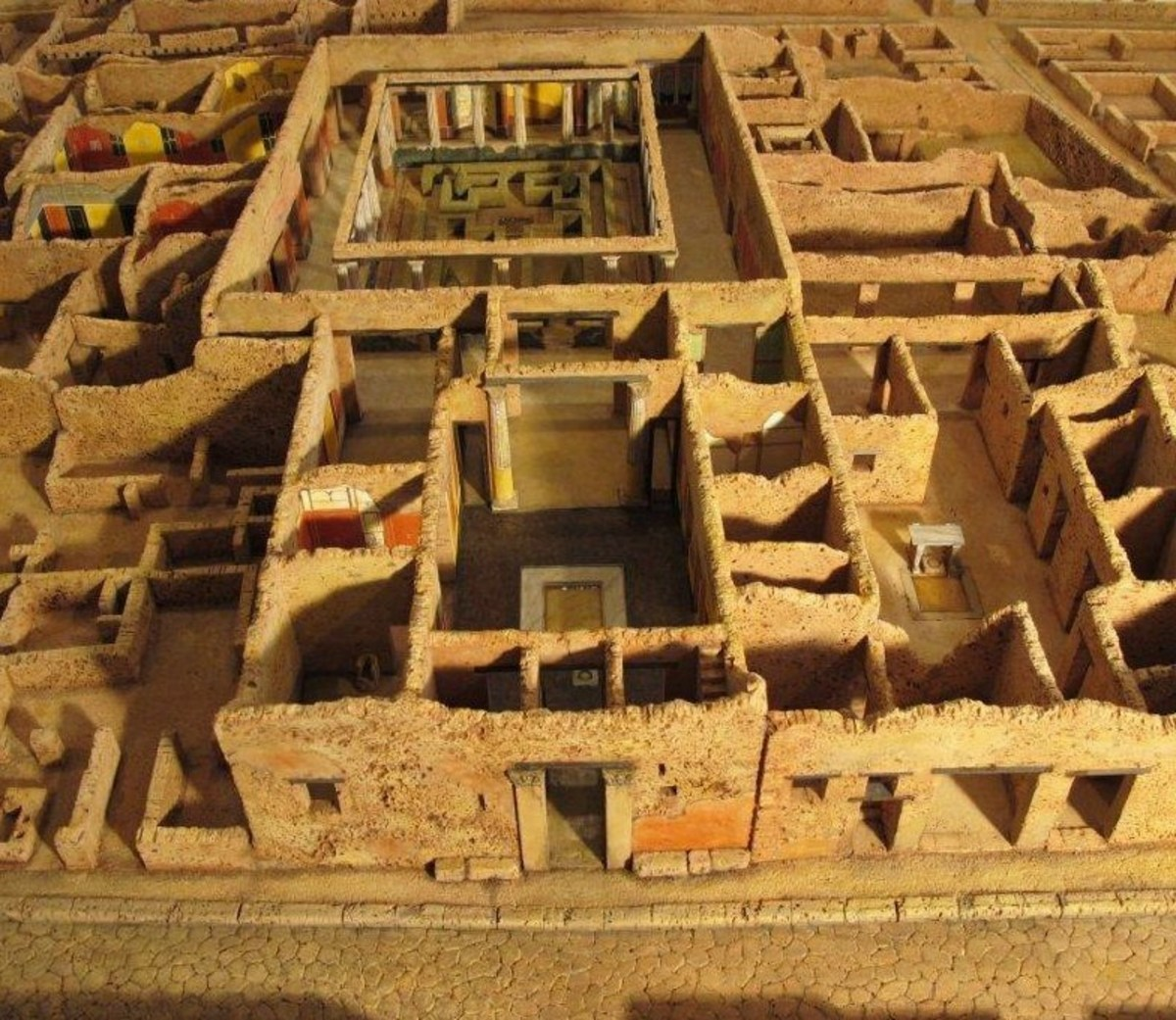 This is a scale model of Pompeii. The Ancient Romans were the first to develop the 'bricks and mortar' building combination which we still use today.