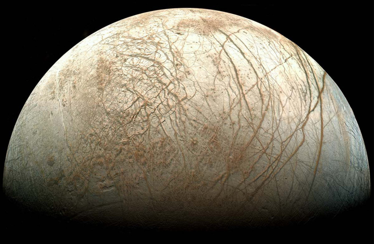 Europa as imaged by the Galileo probe.