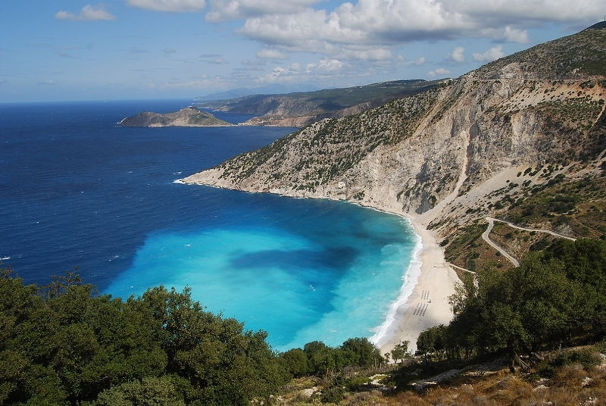 A beach on the island of Kephalonia (AKA Kefalonia, Cephalonia), Greece in the Ionian Sea