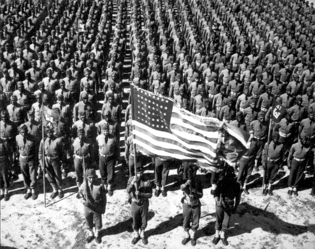 Sgt. Williams in the color guard of the 41st Engineers