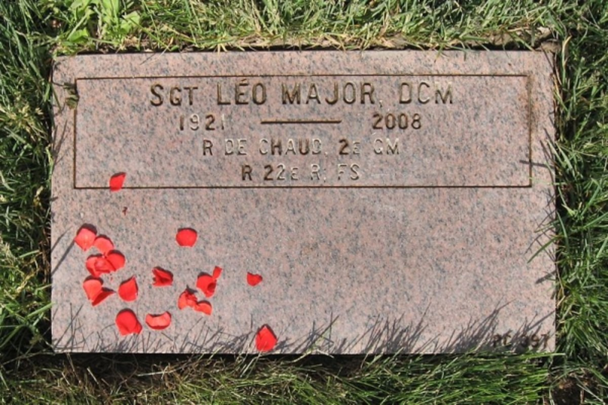 "Leo Major's tombstone in the National Field of Honor in Quebec, Canada. ""Léo Major, Distinguished Conduct Medal; 1921-2008; Régiment de la Chaudière, WWII; Royal 22e Regiment, Task Force, Korea"""