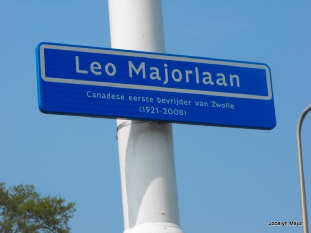 "Leo Major Street sign in Zwolle, Netherlands. Reads: ""Canadian first liberator of Zwolle (1921–2008)"". Major used this route when he invaded the city."