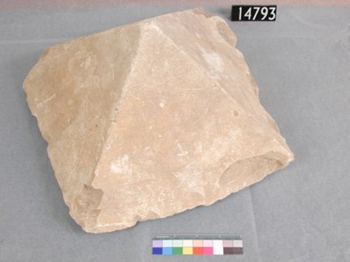 Pyramidion-like stone found at the pyramid at Hawara. The function is unknown, it might have been a model of a pyramid.