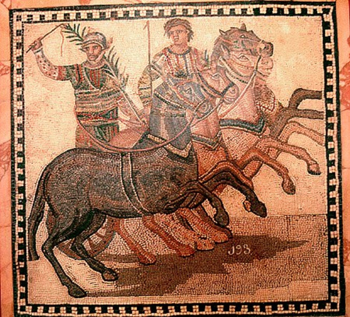A roman mosaic depicting the winner of a chariot race