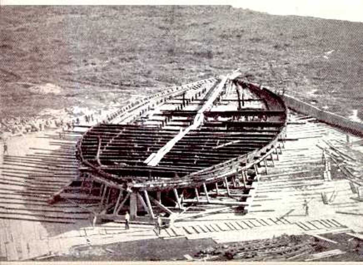 One of the Nemi ships as they were found in 1930s