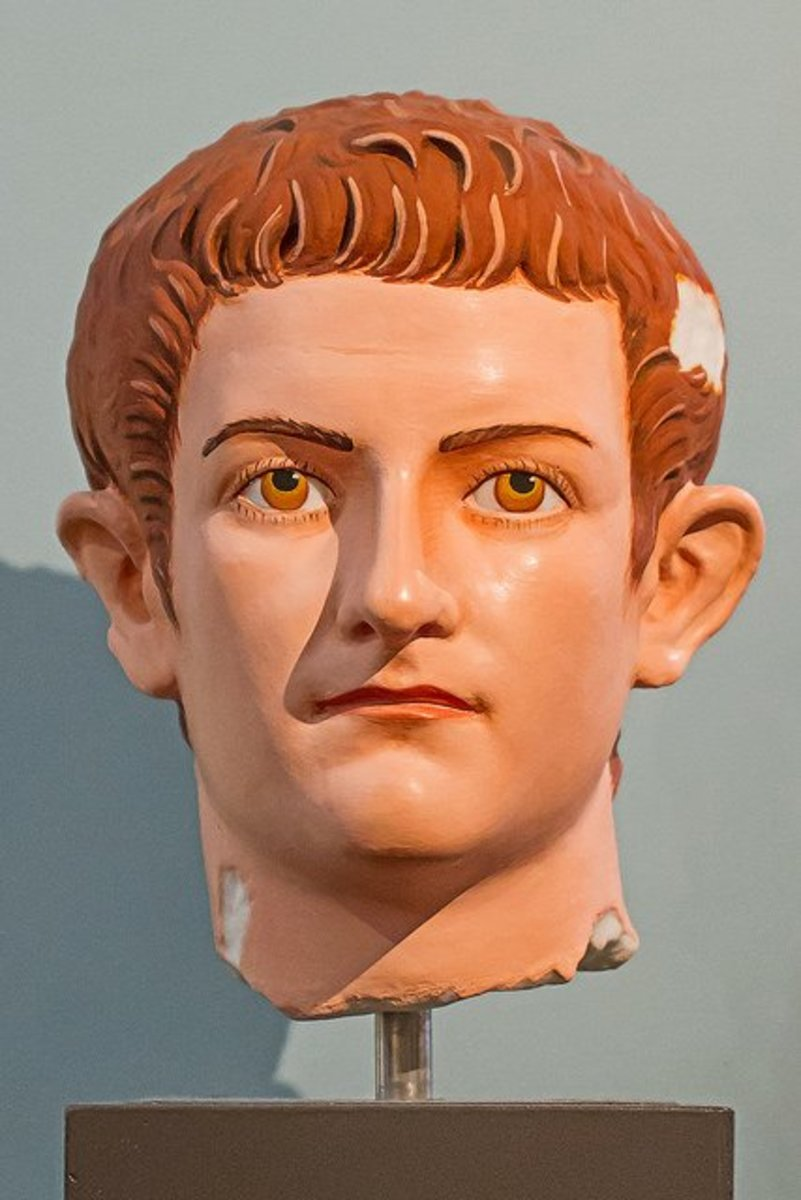 The bust of Caligula in its original colors
