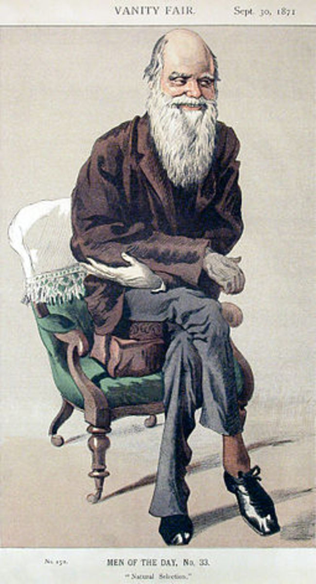 A caricature of Charles Darwin, in Vanity Fair, 1871