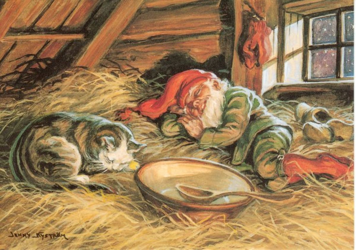 A Tomte sleeping with the family cat. By Jenny Nyström.