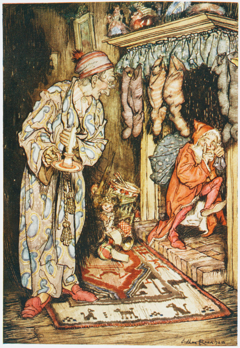 "It is easy to see the connection between Santa and House Elves in early depictions of ""that jolly old elf"" - before Santa's modern image was fully developed. By Arthur Rackham."
